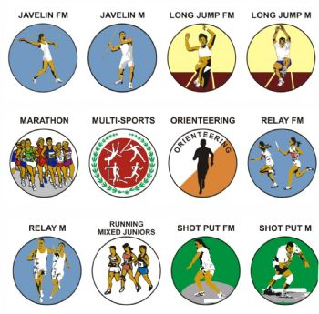Athletics J-S pk of 5 25mm centres-